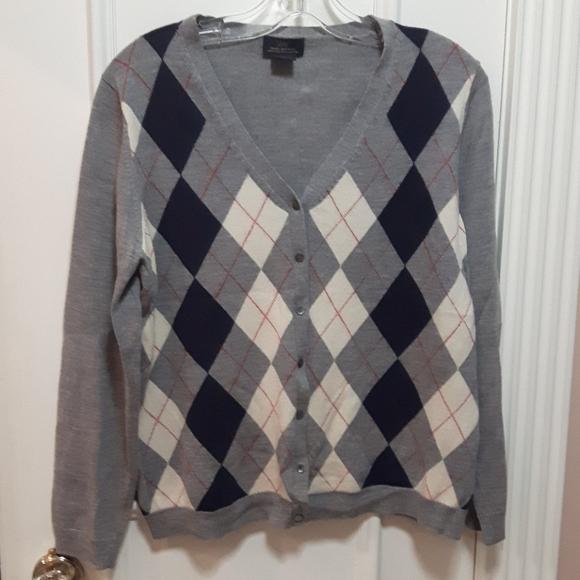 Brooks Brothers grey Harringbone pattern cardigan